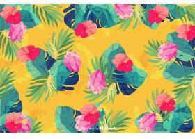 黄色背景上的水彩画无缝图案植物_5445529