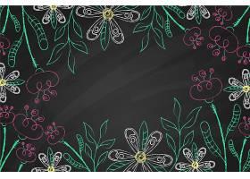 黑板上的热带树叶复制空间背景_6437493