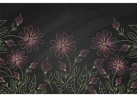 黑板背景上的紫罗兰花_6437482
