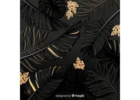 黑色和金色热带树叶背景_4256980