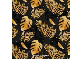 黑色和金色热带树叶背景_4256982