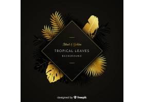 黑色和金色热带树叶背景_4256985
