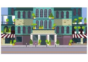 空荡荡的城市街道上有漂亮的建筑和植物_3296519