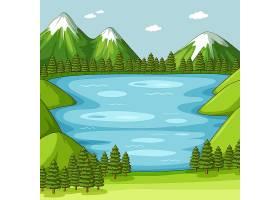 空荡荡的有湖的绿色自然风光_12364852