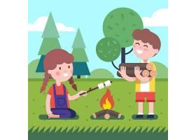 篝火旁的男孩和女孩_1311404
