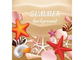 米色沙滩上的贝壳和星星夏季背景矢量插图_4526595