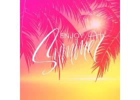 粉红色棕榈树背景夏日刻字海报_13278699