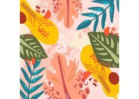 粉红色背景的抽象热带树叶_8131899
