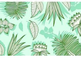 绿色柔和线形热带树叶背景_8247377
