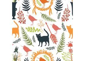 背景为鸟和猫的剪影花朵和树枝_1380651