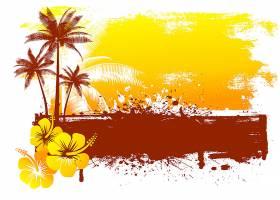 肮脏的夏日背景有芙蓉花和棕榈树_1112313