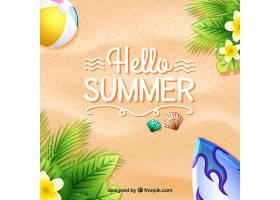 沙子和花朵的夏日背景_1118184