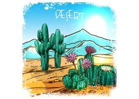 沙漠小品中的仙人掌_3886377