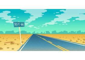 沙漠景观以空旷的柏油路通向峡谷荒地66_3264680