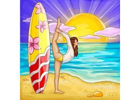 波普艺术冲浪女孩在沙滩上做瑜伽_2891061