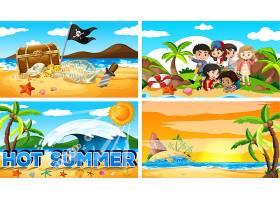 海滩上夏日的四个背景场景_6409115