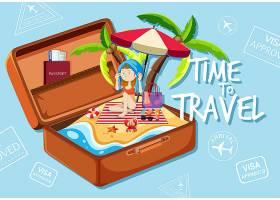 海滩上的一个女孩提着手提箱_4382491