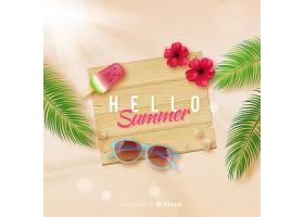 海滩上的现实你好夏日背景_4903473
