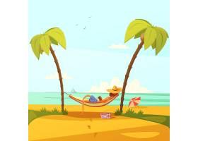 海滩上的男人戴着吊床帽子拿着收音机和手_3795979