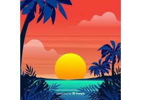 海滩日落日出棕榈剪影_4580732