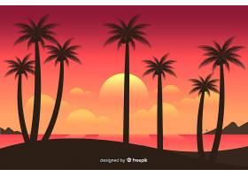 海滩的日落棕榈树的剪影_4487331
