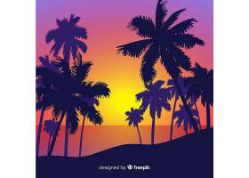海滩的日落棕榈树的剪影_4528994
