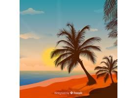 海滩的日落棕榈树的剪影_4620310
