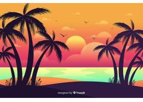 海滩的日落棕榈树的剪影_4620312