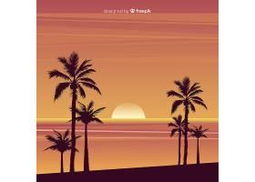 海滩的日落棕榈树的剪影_4650520