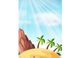海滩背景上有椰子树的场景_4870154
