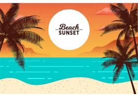 海滩落日棕榈剪影和海浪_8468284