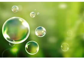 漂浮在绿色背景矢量中的肥皂泡_4159922