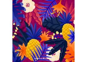 热带夏季背景五颜六色的植物和菠萝_2200158