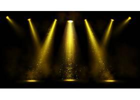 舞台灯光带有烟雾和闪光的金色聚光灯光束_11926384