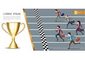 领导与成功五彩缤纷的理念与商务人士一起跑_13061046