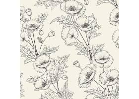 花卉无缝图案米色背景上盛开的罂粟花_10122891