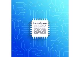 电子设备电路板亮蓝背景海报矢量插图_1158221