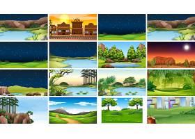 白天和夜晚的一组自然风景或背景_5072766
