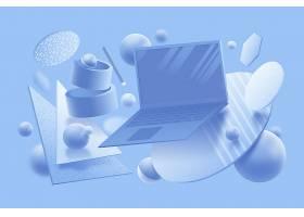 柔和色彩的3D图形设计概念_6209947