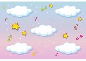 带有旋律主题的柔和天空背景上的白云_9689024