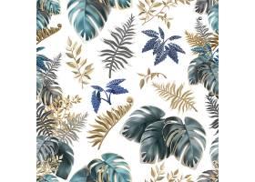 带有深色热带叶子的无缝图案_10211069