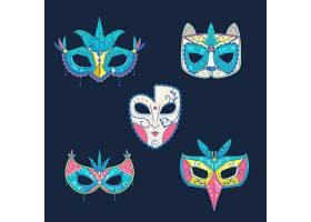 一套蓝色背景的威尼斯狂欢节面具_11736141