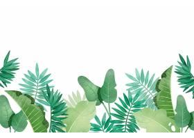 不同树叶的热带背景_7604009
