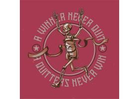 带有跑步骨架插图的T恤或海报设计_13298246