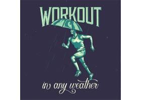 带有雨下跑步者插图的T恤或海报设计_9517511