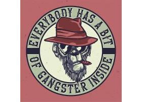 带有黑帮猴子插图的T恤或海报设计_9517472
