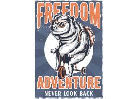 自行车上印有熊图案的T恤或海报设计_9516036