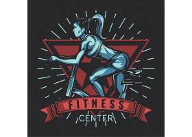 带健身车女孩插图的T恤标签设计_13110225