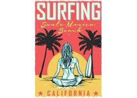 带有冲浪板女孩图案的T恤或海报设计_9516165