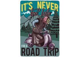 滑板车上印有奶奶插图的T恤或海报设计_9517607